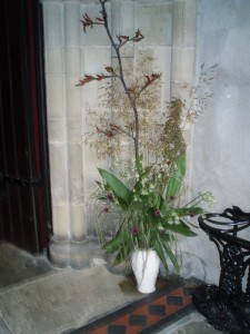 church entrance - phormium and grasses