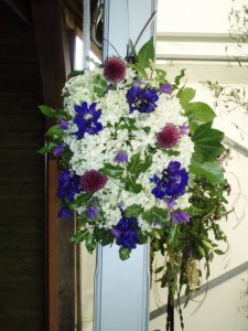 1.8.2009. white hydrangea, blue delphiniums & cornflower