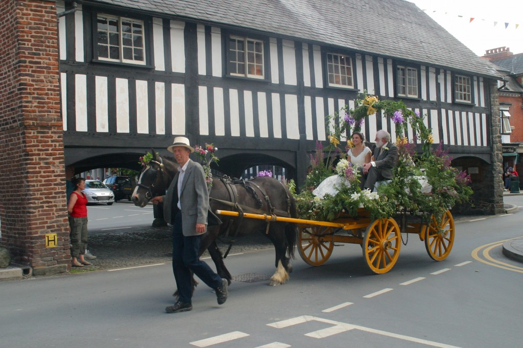 2.8.2008. llanidloes market hall, chris walking the horse and cart